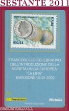 TESSERA FILATELICA FRANCOBOLLO MONETA UNICA EUROPEA LA LIRA 2002  D24