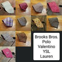 11 Luxury Silk Necktie Tie Lot Bundle Lauren Valentino Yves Brooks Brothers Polo
