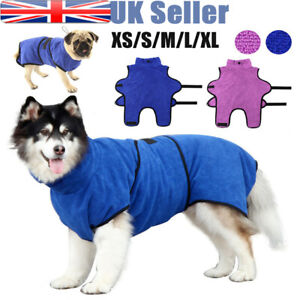 Quick-Drying Micro Dog Towels Absorbent Pets Cat Bathrobe Gown Robe Coat UK