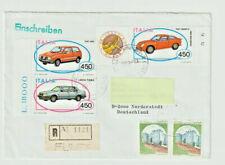 Einschreiben-Brief aus Italien nach Deutschland 1985 Auto PKW FIAT ABARTH LANCIA