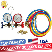 "R410A R22 Manifold Gauge Set Ac A/C 5Ft Color Hose Air Conditioner Hvac 59"" New"