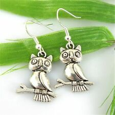 Cute New Sterling Silver Ear Wire / Tibetan Silver Owl Charm Dangle Earrings