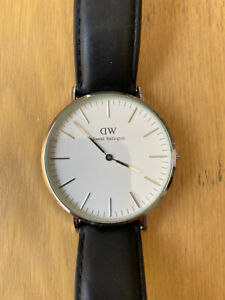 DW Daniel Wellington 40mm White Dial Silver Case Classic Sheffield Watch