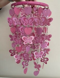Pink Hanging Butterflies & Hearts Ceiling Light Shade Max 60W/Energy Saving 11W