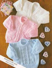 "Baby Textured Diamond Cardigans & Sweater Round/V 14"" - 22"" DK Knitting Pattern"