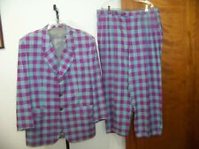 Vintage Men's Custom Made 70's 2 pc Plaid Check Suit