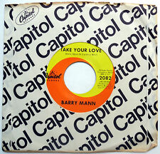 BARRY MANN 45 Take Your Love / Young Electric NEAR MINT Psych SURF Pop 1966 e870