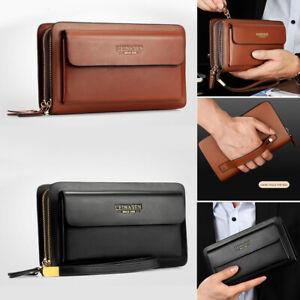 Herren echt Leder Handgelenktasche Handtasche Geldbörse Dokumententasche Tasche