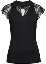 Schickes Shirt mit transparenten Ärmeln und Spitze Gr.32/34