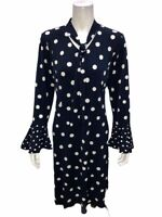 Susan Graver Women's Polka Dot Liquid Knit Dress with Tie Navy Blue Medium Size