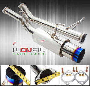 """T304 S/S Catback Exhaust System 75mm w/ 4.5"""" Burnt Tip For 89-94 Nissan 240SX"""