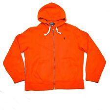 Polo Ralph Lauren Classic Hoodie Jacket Fleece Sweatshirt Orange XL EUC Mens Zip
