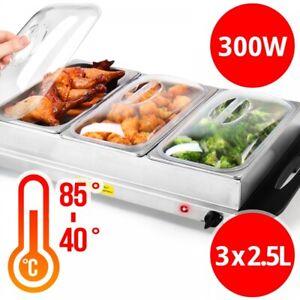 Buffetwärmer Speisewärmer Warmhalteplatte Warmhaltebehälter elektrisch 3 x 2.5L