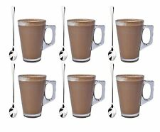Set of 6 Latte Glass Tea Coffee Cappuccino Drinking Cup 240ml with Free Spoons