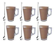 Set di 6 Latte Macchiato Vetro Tè Caffè Cappuccino Bere Coppa 240ml con cucchiai GRATIS