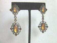 rhinestone filigree pierced earrings Antiqued brass tone Gold