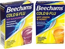 Beechams Cold & Flu Powder x2 TWIN PACK-Hot Lemon & Honey or Blackcurrant