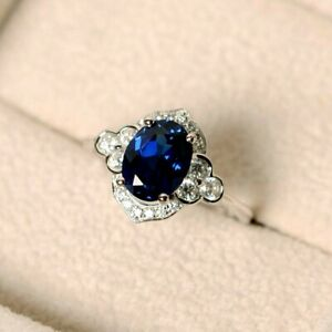 2.00CT Oval Cut Sapphire & Diamonds Halo Engagement Ring 18K White Gold Over