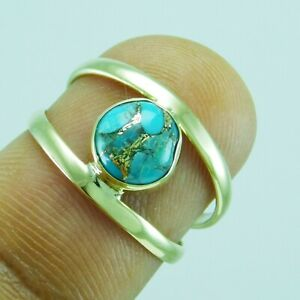 Blue Copper Turquiose Ethnic Jewelry Brass Handmade Ring US Size 8 R-8771