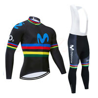 Mens Long Sleeve Cycling Jersey Sunblock Jacket Top Bibs Tights Bicycle Bike