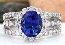 5.11 Carat Natural Tanzanite 14K Solid White Gold Diamond Ring