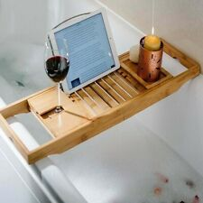 Wooden Bamboo Bath Caddy Tray Bathtub Rack Shelf Storage Wine Tablet Holder UK