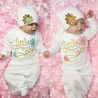 Little Sister Girls Baby Nightie Layette Night Gown Bundler Sleepsuit Cotton