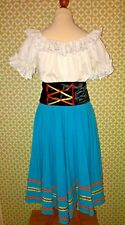 Mediterranean fancy dress peasant girl outfit blouse, skirt and belt size 8