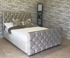 Luxury Crushed Velvet Bed Frame Upholstered Fabric - Made in UK - Free Delivery