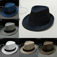Unisex Straw Fedora Sun Hat Panama Trilby Crushable Mens Lady Foldable Travel