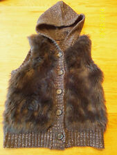 IT'S OUR TIME GIRLS HOODED SWEATER VEST GLITTER AND FUAX FUR SIZE LARGE EUC