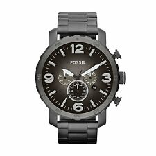 FOSSIL Nate Chronograph Smoke Grey Dial Ion-plated Men's Watch JR1437
