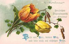 Signed Catherine Klein,Postcard,Orange & Yellow Tulips,Happy Birthday,c.1910