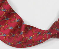 * SALVATORE FERRAGAMO * Dark Red Geometric Skiers Silk Italy Necktie Tie