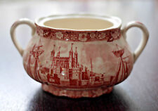 Palissy Pottery Thames River Scenes Red & White Sugar Bowl