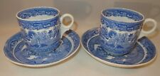 """2 Blue & White 2 7/8"""" Willow Pattern Trios Coffee Cups Or Mugs Saucers & Plates"""