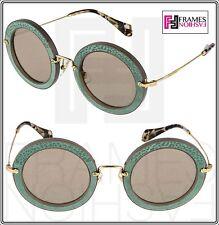 MIU MIU NOIR ANIMAL LEATHER Round 08R Opal Clay Green Mirrored Sunglasses MU08RS