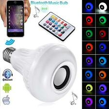 Wireless Bluetooth 3.0 Audio Music Speaker Bulb Lamp RBG E27 LED Light + Remote