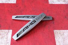 2 × Emblem Badge Decal Trunk Rear Metal for Mercedes Benz AMG C65 GLA matt D06