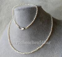 kultiviert Mini 3-3,5mm weiß Reis Süßwasser Perlenkette 17 Zoll Armband 7.5 zoll