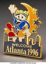 OLYMPIC PINS 1996 ATLANTA MASCOT IZZY SKYLINE WELCOME