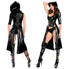 Faux Leather Cape Cloak Cosplay Punk Gothic Dress Lace up Catsuit Jumpsuit
