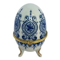 Vintage Blue & White Ceramic Egg Shaped Trinket Box Gold Trim Footed and Hinged