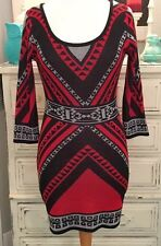FLYING Tomato ANTHROPOLOGIE Large RED Aztec GEOMETRIC Sweater DRESS EEUC!