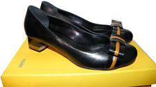 Fendi Black Leather Bow Pump Low Heel Shoe  Cap Toe Ballet 39- 8.5