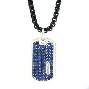 "David Yurman 2.25ctw Sapphire Dog Tag Silver Pendant & 26"" Black Open Box Chain"