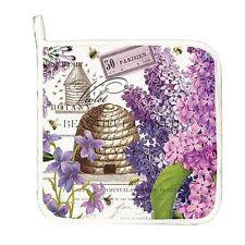 Michel Design Works Cotton Kitchen Potholder Bee Hive Lilac & Violets - NEW