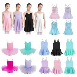 Kids Girls Chiffon Spaghetti Strap Ballet Dance Leotard Dress Tutu Skirt Costume