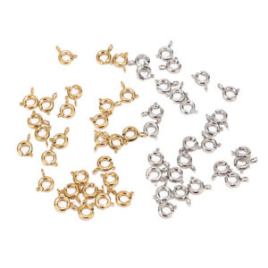 20pcs Gold/Silver Stainless Steel 6mm Round Claw Spring Clasps Hooks Findings