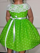 Doll Clothes/Handmade/18 Inches/American Girl Dolls/White Polka Dots on Green.